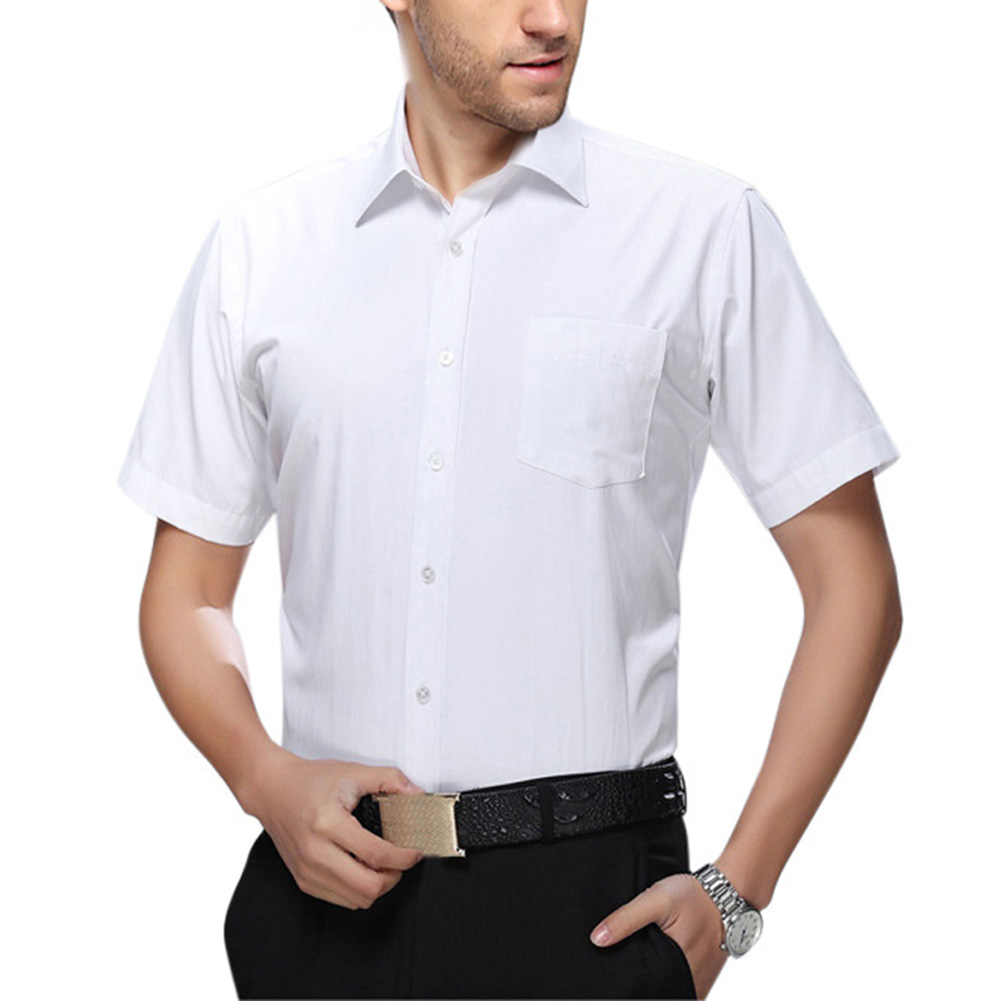 Men White Short Sleeve Business Casual Shirt white_44