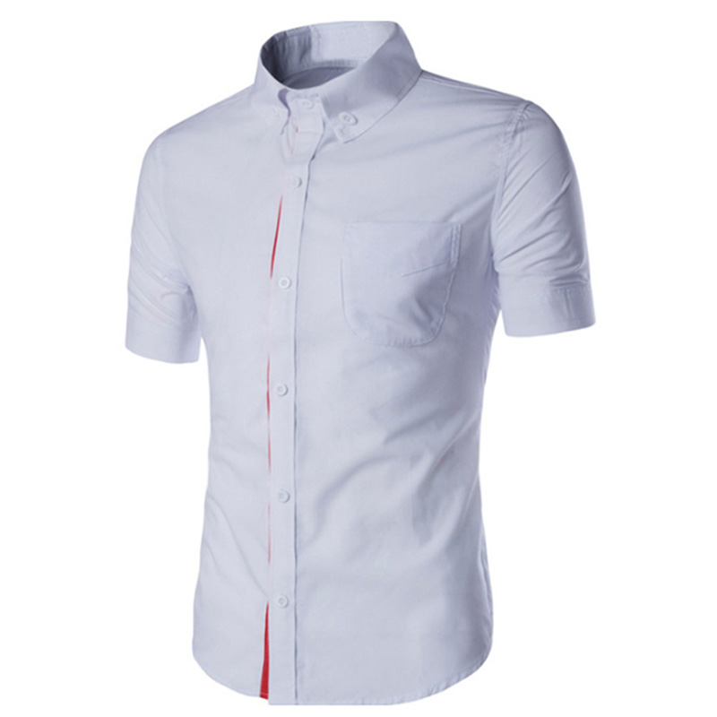 Summer Male Casual Short-sleeve Shirt Solid Colour Tops Gift white_XXL