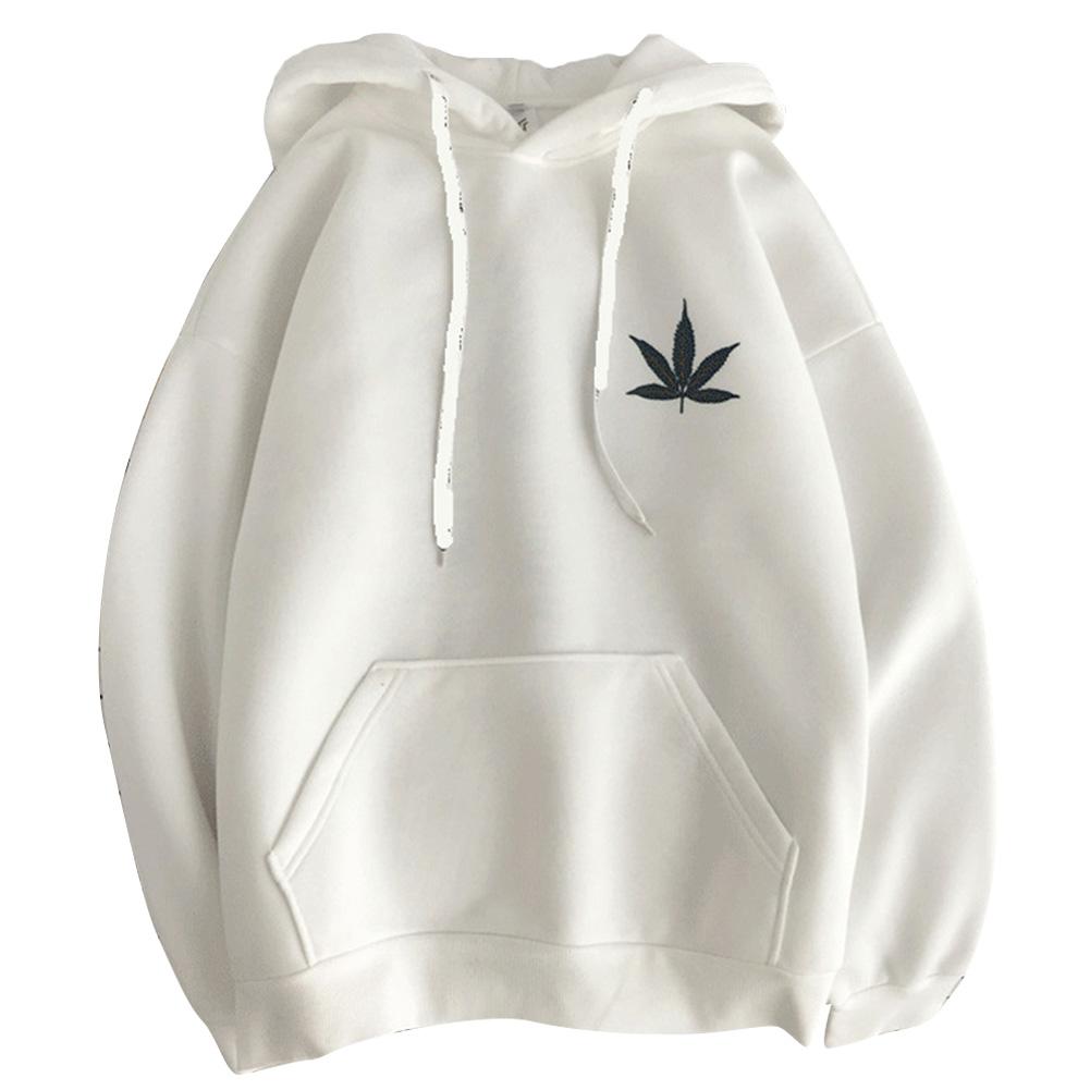 Men Women Hoodie Sweatshirt Maple Printing Simple Fashion Loose Pullover Tops White_XXL