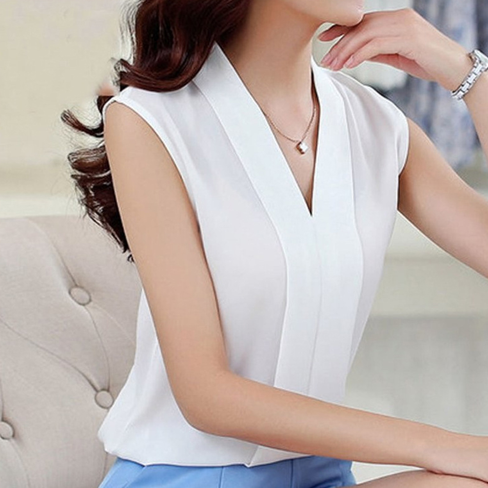 Women Large-size Chiffon Blouse V-neck T-shirt XFS2-white_XXL