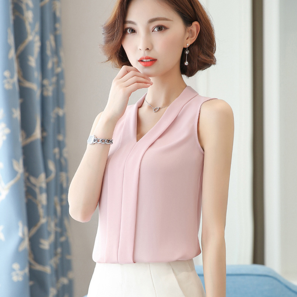 Women Large-size Chiffon Blouse V-neck T-shirt XFS2-pink_M