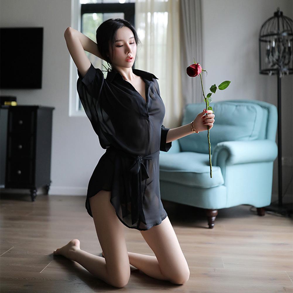 Lady Sexy See-through Lingerie Set Chiffon Shirt + Briefs + Ribbon Pajama Nightgown black_One size