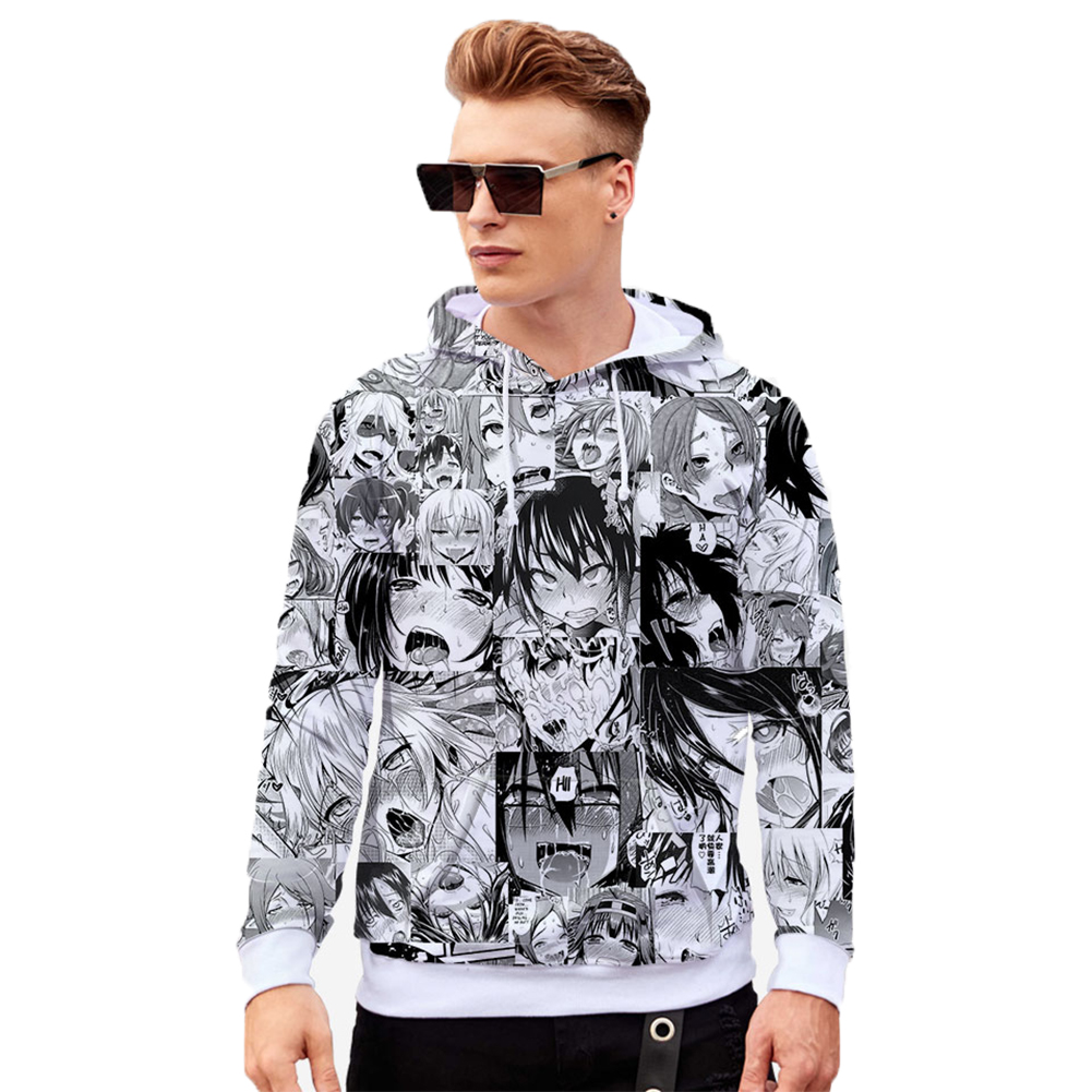 Unisex 3D Casual Digital Printing Fashion Pattern Long Sleeve Hooded Shirt Sweatshirts W style_L