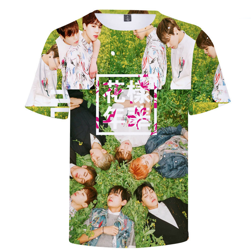 BTS 3D Digital Printed Shirt Loose Casual Leisure Short Sleeves Top for Man 3De_S