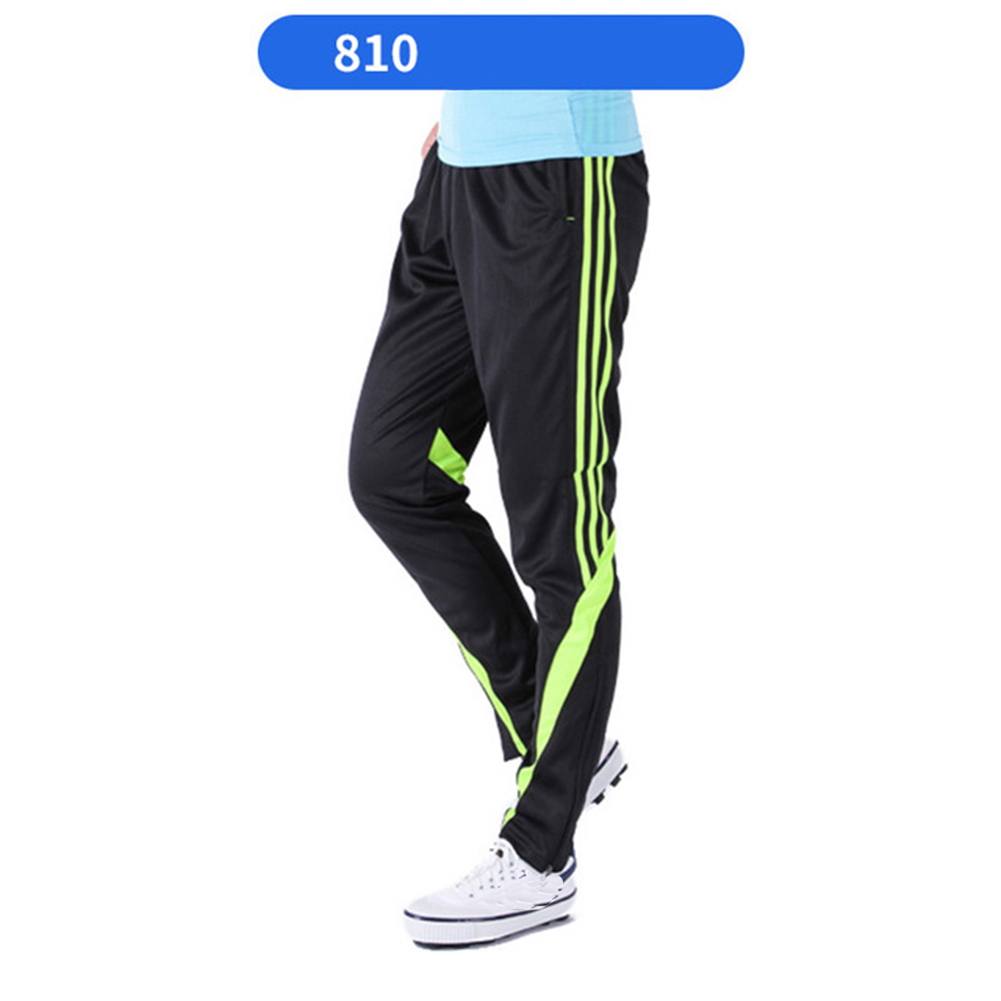Men Summer Training Pants Breathable Running Football Long Fashion Sports Pants 810-fluorescent green_L
