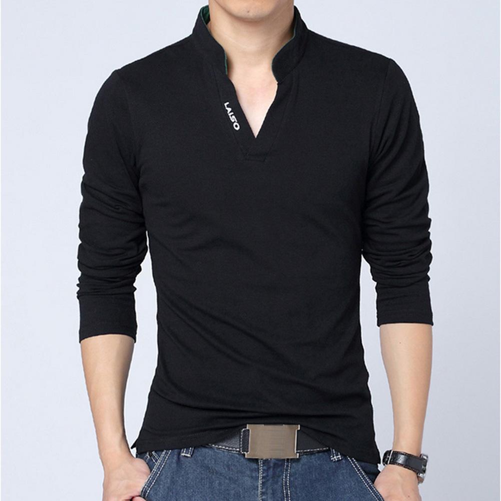 Men Solid Color V Neck Long Sleeve Leisure T-shirt black_L