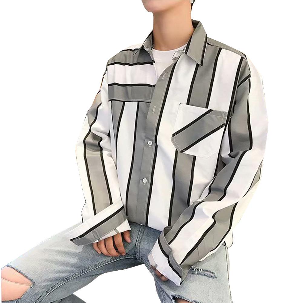 Men Striped Pattern Long Sleeve Loose Casual Shirt grey_XL