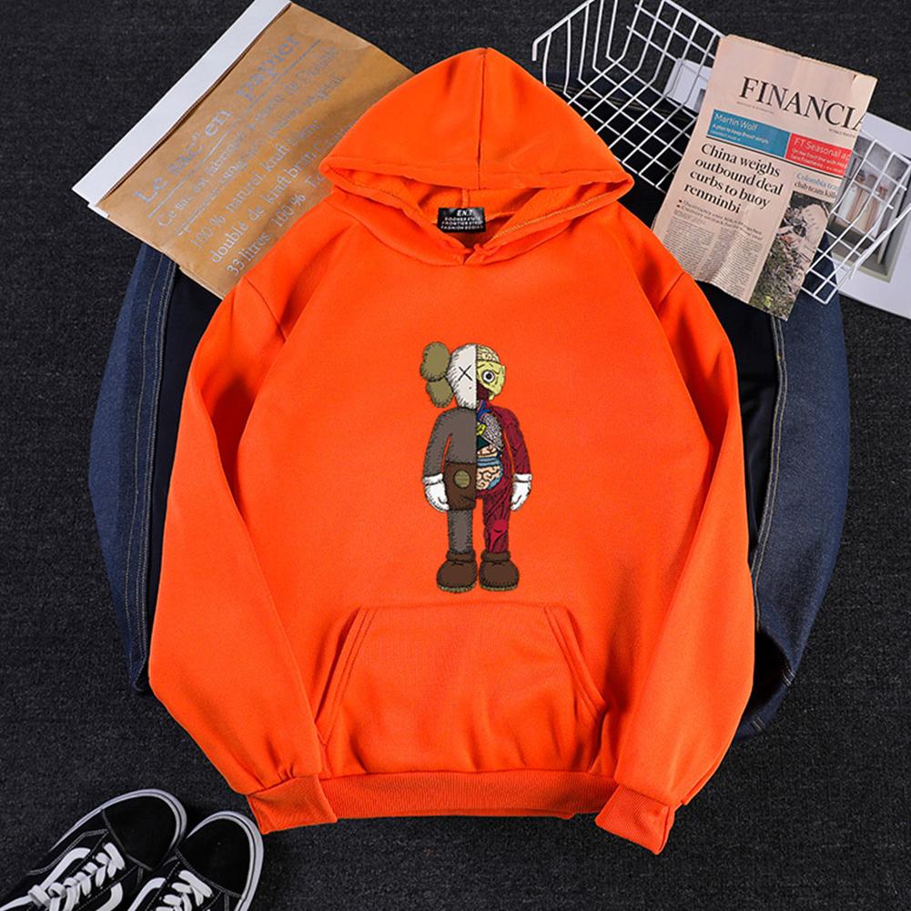 KAWS Men Women Hoodie Sweatshirt Cartoon Standing Doll Thicken Autumn Winter Loose Pullover Orange_XL