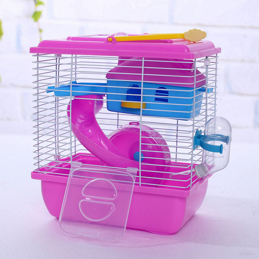 Pet Cage Hamster Cottage with Transparent Skylight Double Layer House for Hamster Golden Hamster Pet red_L