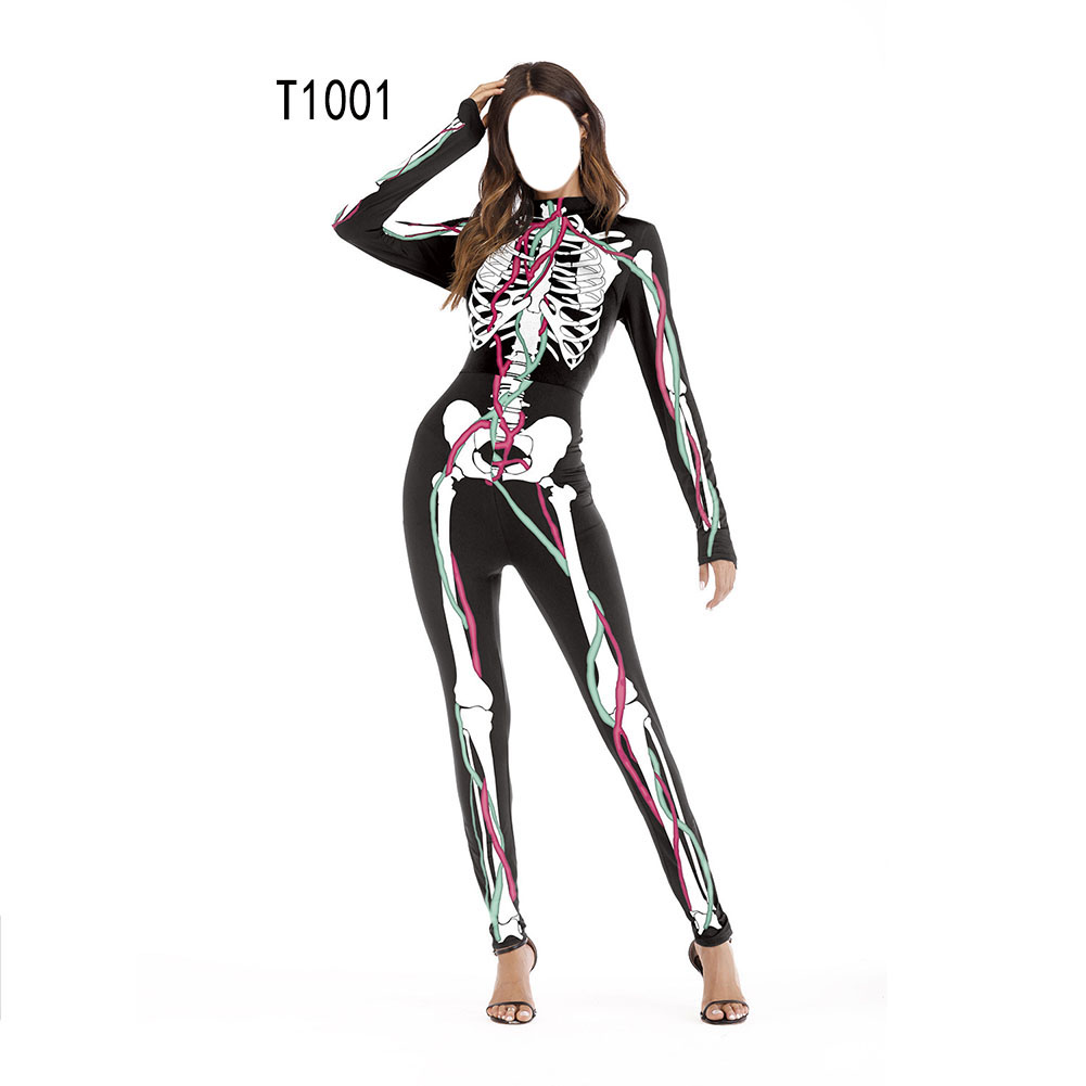 Female Slim Jumpsuits Long Sleeve Cosplay Custome for Halloween Party Festival  T1001_S/M
