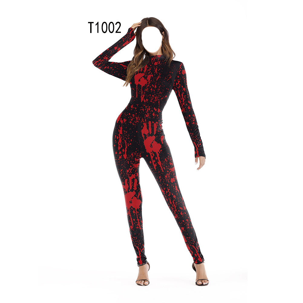 Female Slim Jumpsuits Long Sleeve Cosplay Custome for Halloween Party Festival  T1002_S/M