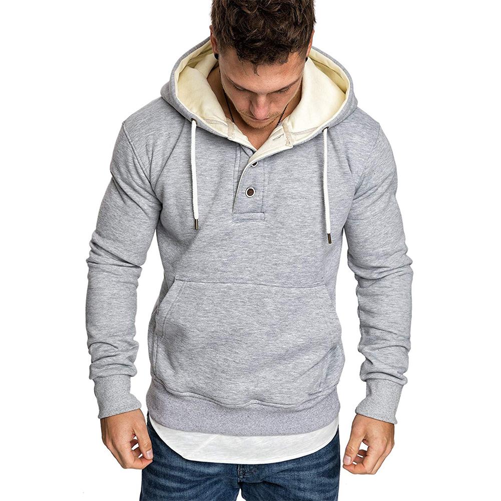 Men Spring Autumn Fashion Round Collar Button Decor Hooded Fleece SSpring Autumn  light grey_M