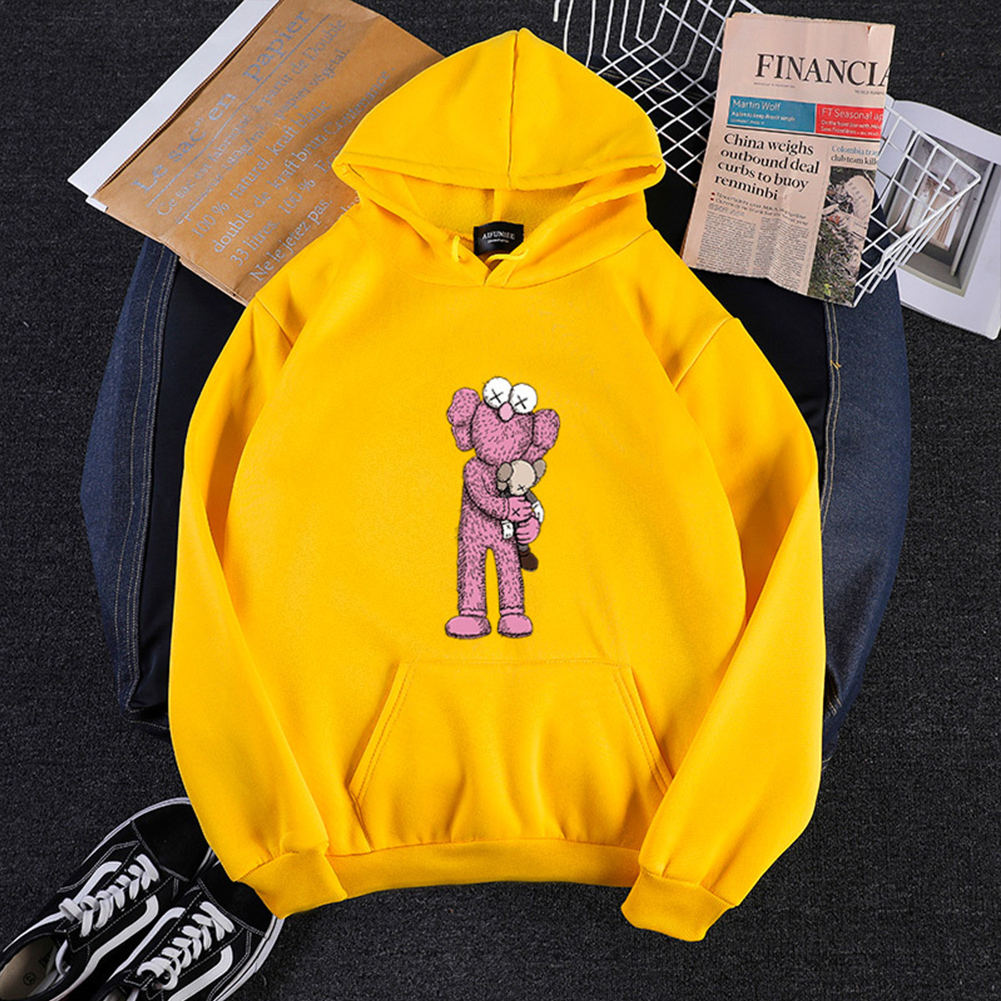KAWS Men Women Hoodie Sweatshirt Holding Doll Cartoon Thicken Autumn Winter Loose Pullover Yellow_L