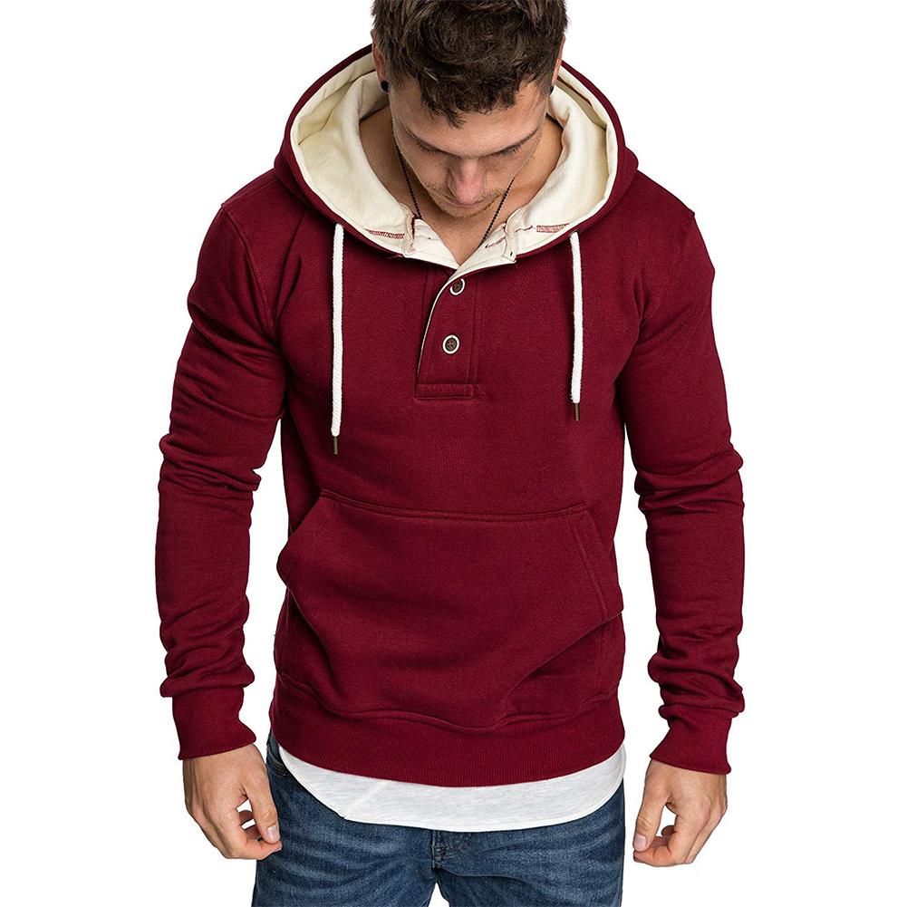 Men Spring Autumn Fashion Round Collar Button Decor Hooded Fleece SSpring Autumn  red_XXXL