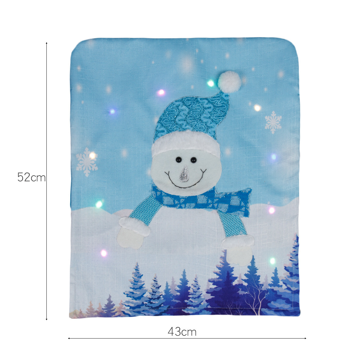 Non-woven Fabric Christmas Chair  Cover With Light Old Man Snowman Luminous Home Hotel Restaurant Chair Cover Decoration Luminous Snowman