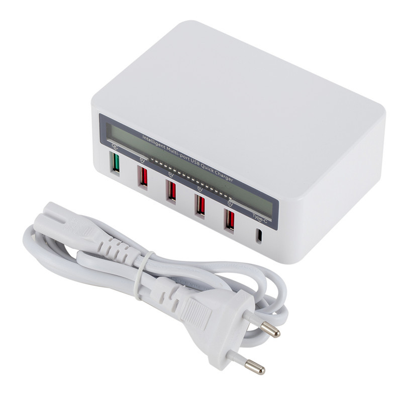 5 Port USB QC 3.0 Quick Charger LCD Voltage Current Display for iPhone iPad Samsung white_EU plug