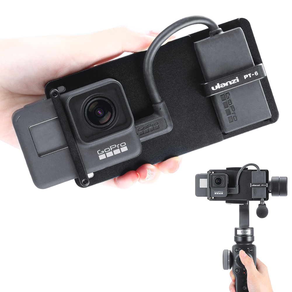 ULANZI PT-6 Mount Adapter for GoPro Hero 7 6 5 Universal Switch Mount Plate for DJI Osmo Mobile 2 Zhiyun Smooth 4  black