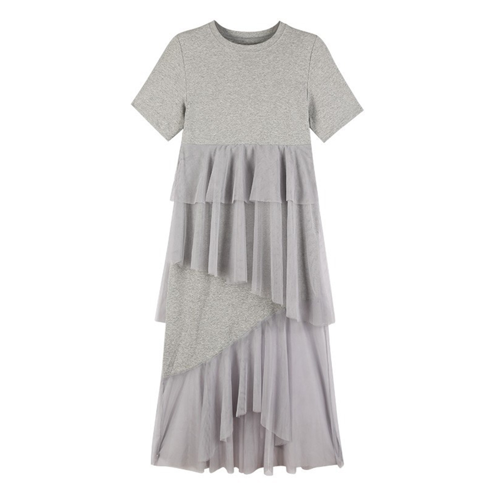 Female Irregular Dress Gauze Short Sleeve Sweet Medium Long Fringed Dress  gray_3XL