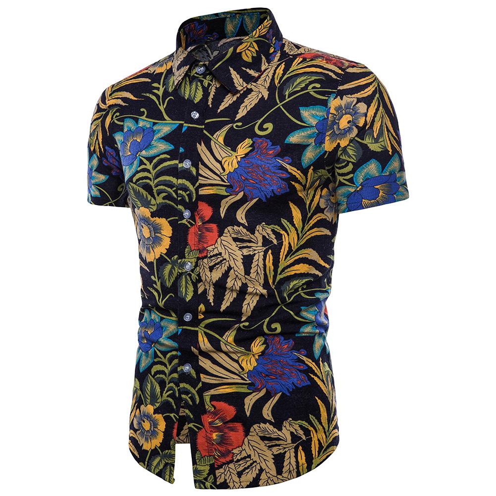 Men Fashion Colorful Floral Printing Short Sleeve T-shirt TC06_XXL