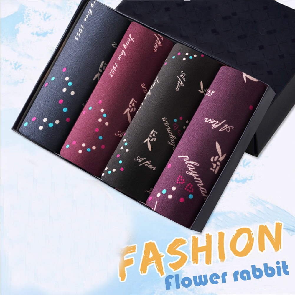 4pcs/set Man Underwear Box-packed Fashion Breathable Colorful Boxers colorful rabbits_XXL