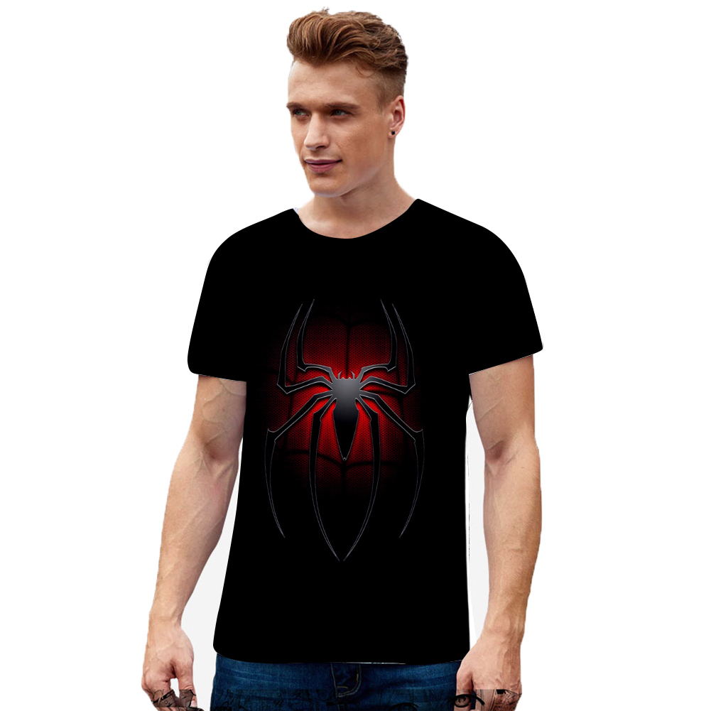Fashion Cool Spiderman 3D Printing Summer Casual Short Sleeve T-shirt for Men Women U_S