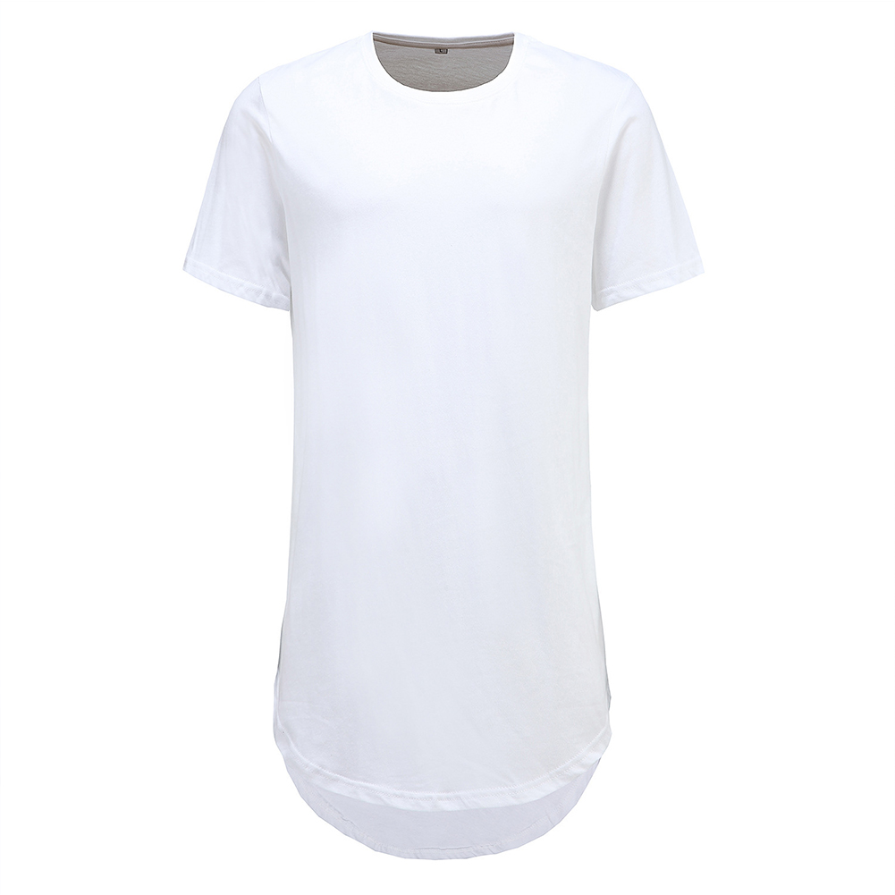 Men Fashion Casual Loose Round Hem Elongated Solid Color T-shirt white_M