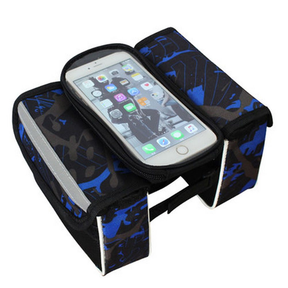 Waterproof Bike Bag Frame Front Head Top Tube Cycling Bag Touch Screen Bicycle Bag Accessories blue