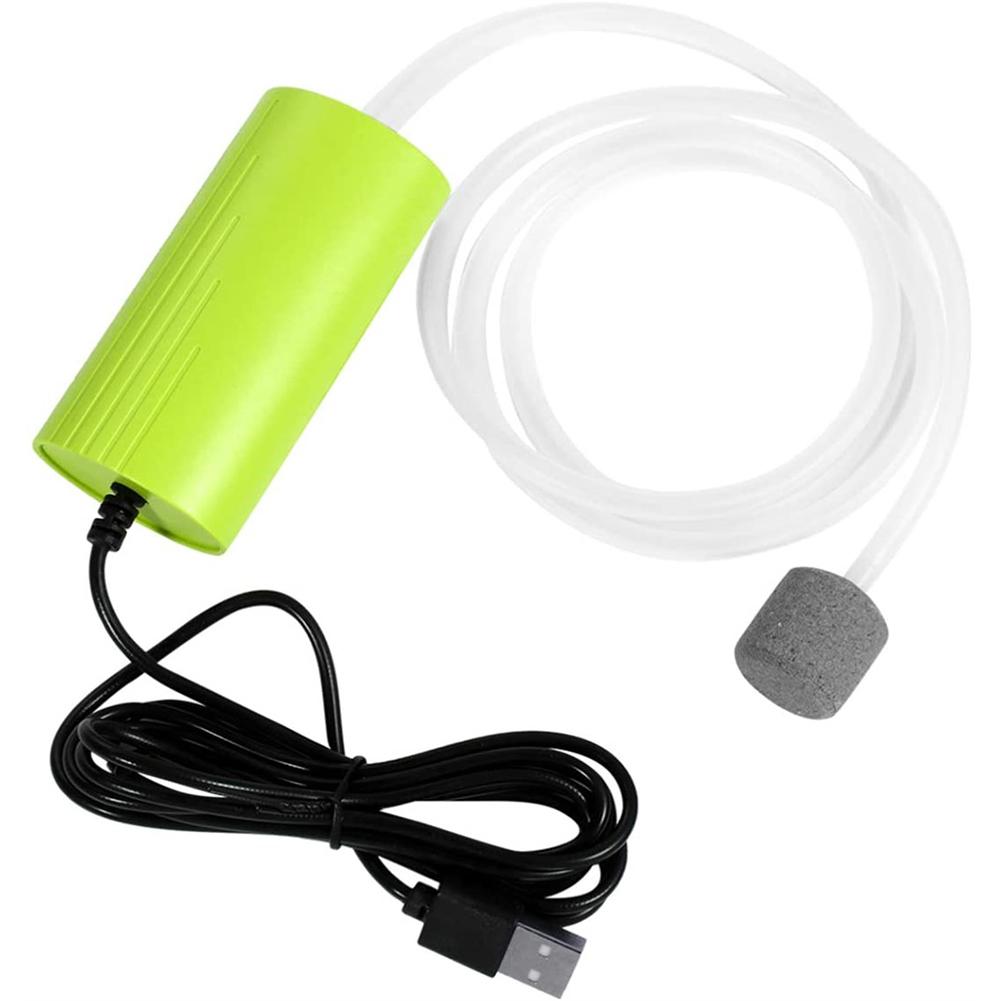 Oxygen  Pump Silent Mini Portable Usb Aquarium Air Pump For Fish Bowl Green