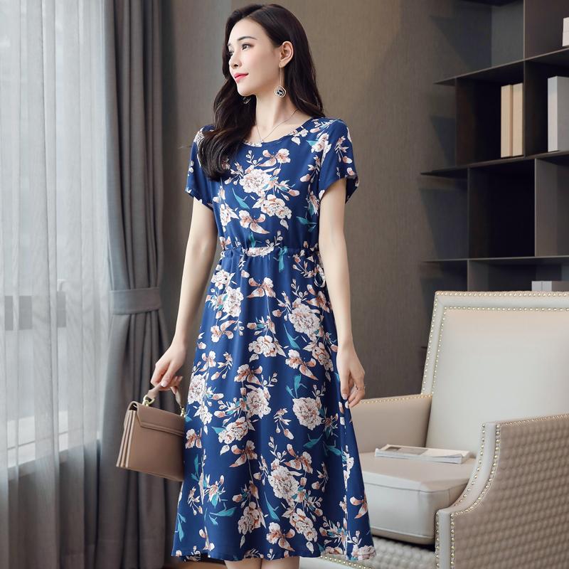 Women Summer Large Size Tight Waist Floral Printing Long Beach Dress 574#_3XL