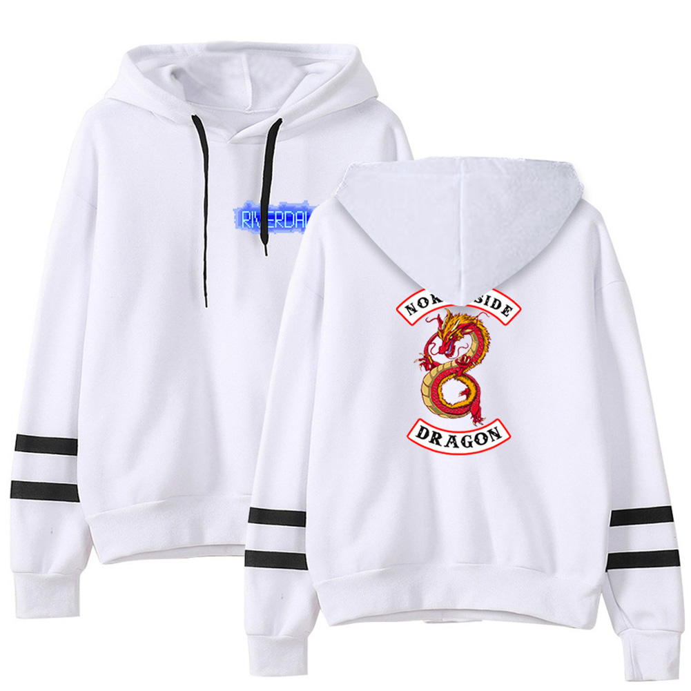 Men Women American Drama Riverdale Fleece Lined Thickening Hooded Sweater White E_L