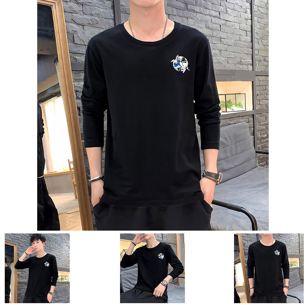 Men Autumn and Winter Long Sleeve Round Neckline Print Solid Color Cotton T-Shirt Tops black_M