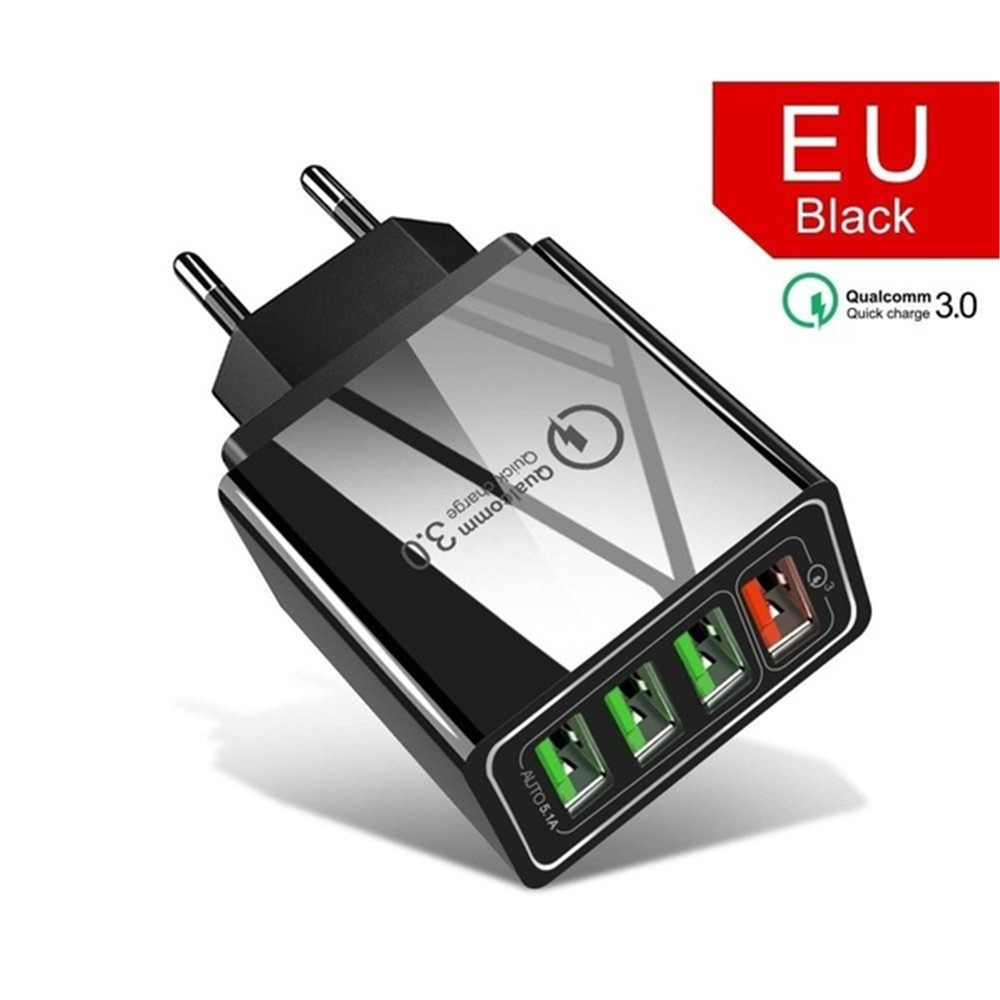 Cellphone Charger with 4 USB port Fast Charging for iPhone Samsung Xiaomi Huawei Smartphone Travel Power Adaptor 4USB-EU Black