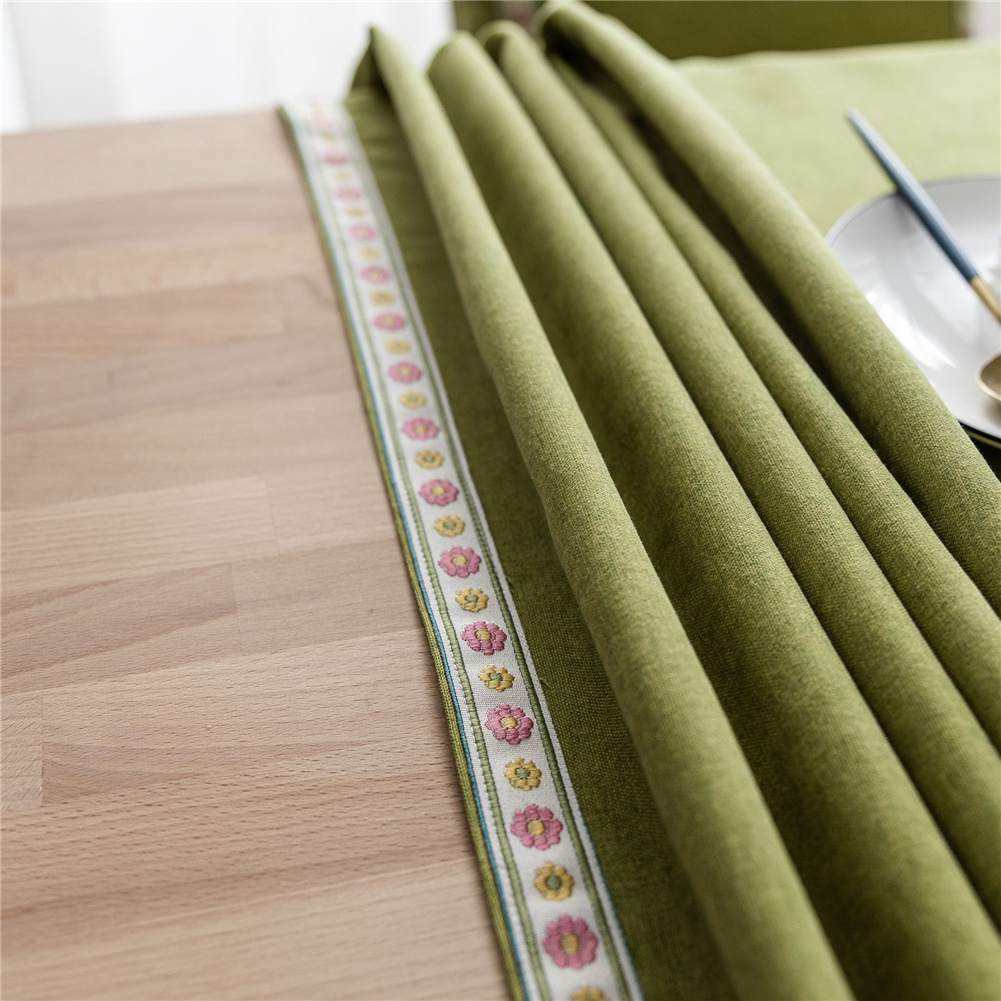 Waterproof Embroidery Table  Cloth Decorative Fabric Table Cover For Outdoor Indoor Green_100*140cm