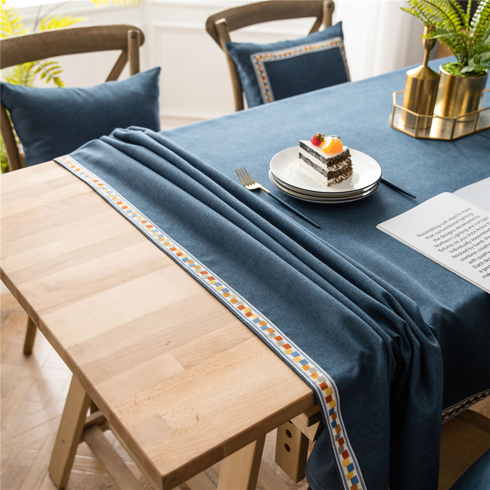 Waterproof Embroidery Table  Cloth Decorative Fabric Table Cover For Outdoor Indoor Navy_100*140cm