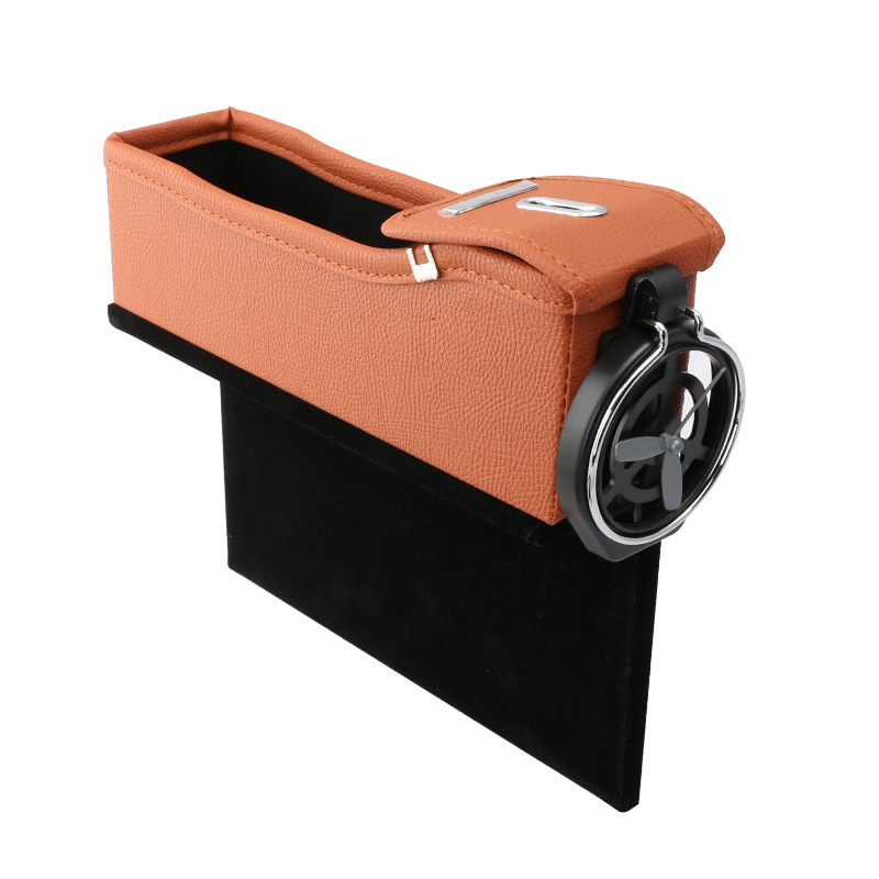 Car Seat Storage Box Cup Drink Holder Organizer Auto Gap Pocket Stowing Tidying for Phone Pad Card Coin  Orange Deputy driving