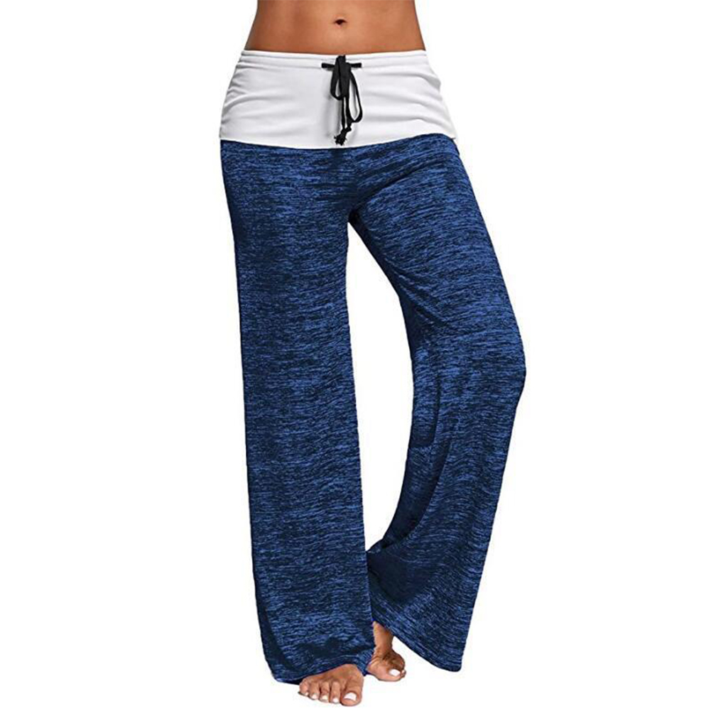 Women Casual Loose Pants Wide Trouser Legs for Yoga Sports  blue_L