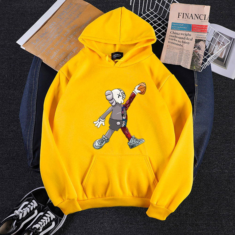 KAWS Men Women Cartoon Hoodie Sweatshirt Walking Doll Thicken Autumn Winter Loose Pullover Yellow_XXXL