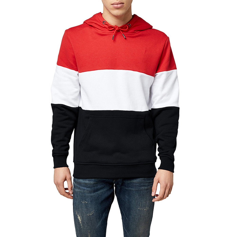 Men Autumn Winter Creative Solid Color Casual Hooded Loose Sweater Shirt Tops Red white black_L