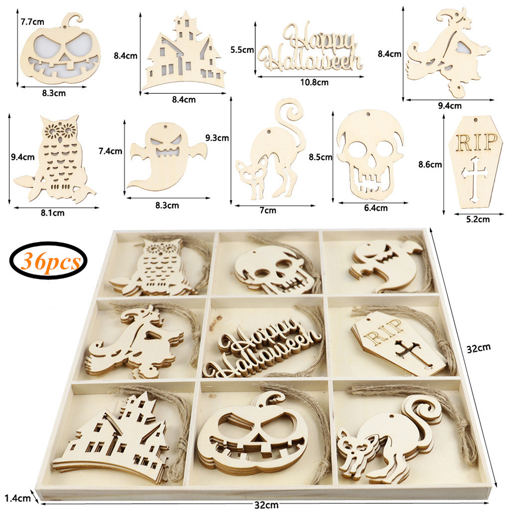 Wooden Halloween Ornaments Hollow Hanging Pendant for Home Art Crafts JM02008