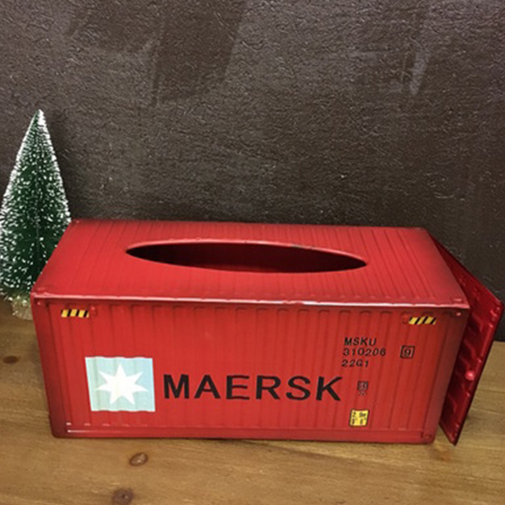Retro Tabletop Iron Tissue Box for Home Living Room Car Storage Decoration Red MEEK