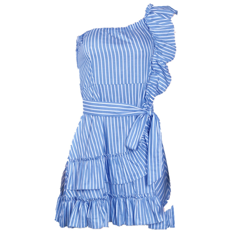 Women Off Sloping Shoulder Strap Flounces Decoration Stripes Dress Sexy Style  Light blue_L