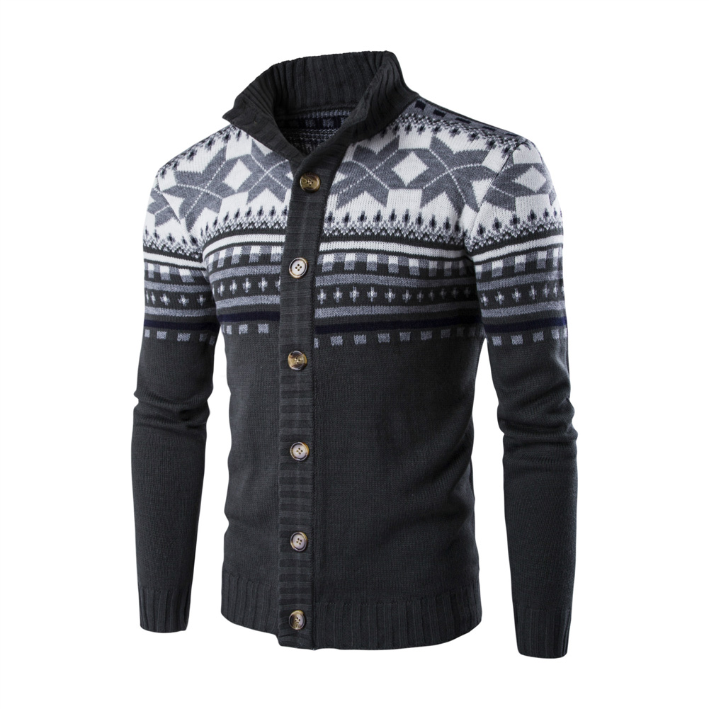 Autumn Winter Europe and America Style Christmas Male Single Jugged Base Shirt Cardigan Sweater Dark gray_XL
