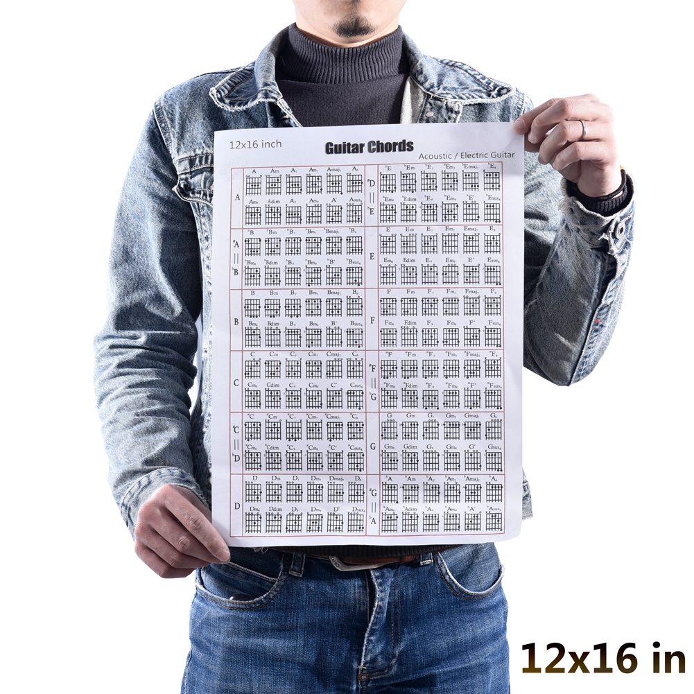Acoustic / Electric Guitar Chord & Scale Chart Poster Tool Lessons Music Learning Aid Reference Tabs Chart 30*40cm (12x16inch)_Guitar version