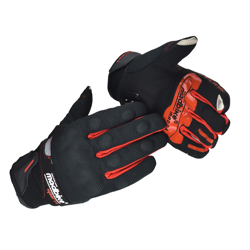 Motorcycle Gloves Touch Sscreen Summer Guantes Full Finger Motorbike Cycling Racing Glove red_L