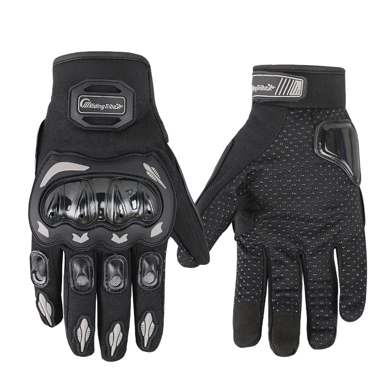 Unisex Motorcycle Gloves Summer Breathable Moto Riding Protective Gear Non-slip Touch Screen Guantes Black M
