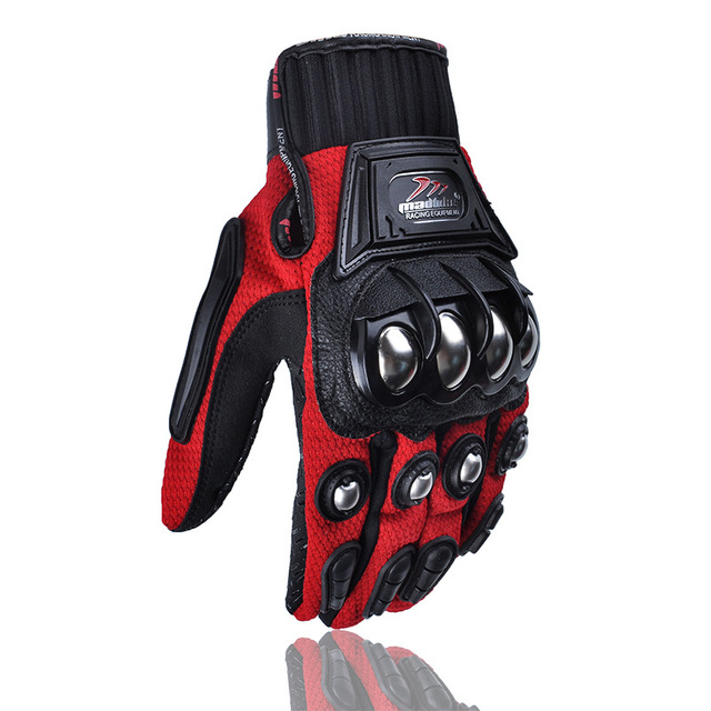 Motorcycle Full Finger Gloves Racing Gloves Motorbike Alloy Gloves Protective Guantes red_M