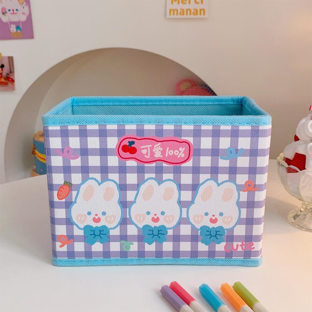 Pu  Leather  Cartoon  Storage  Box Cute Pattern Foldable Desktop Debris Sorting Storage Box 6#Three little rabbits