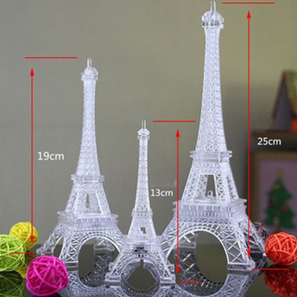 [Indonesia Direct] Colorful Romantic Eiffel Tower LED Night Light Desk Wedding Bedroom Decorate Lamp Child Gift middle