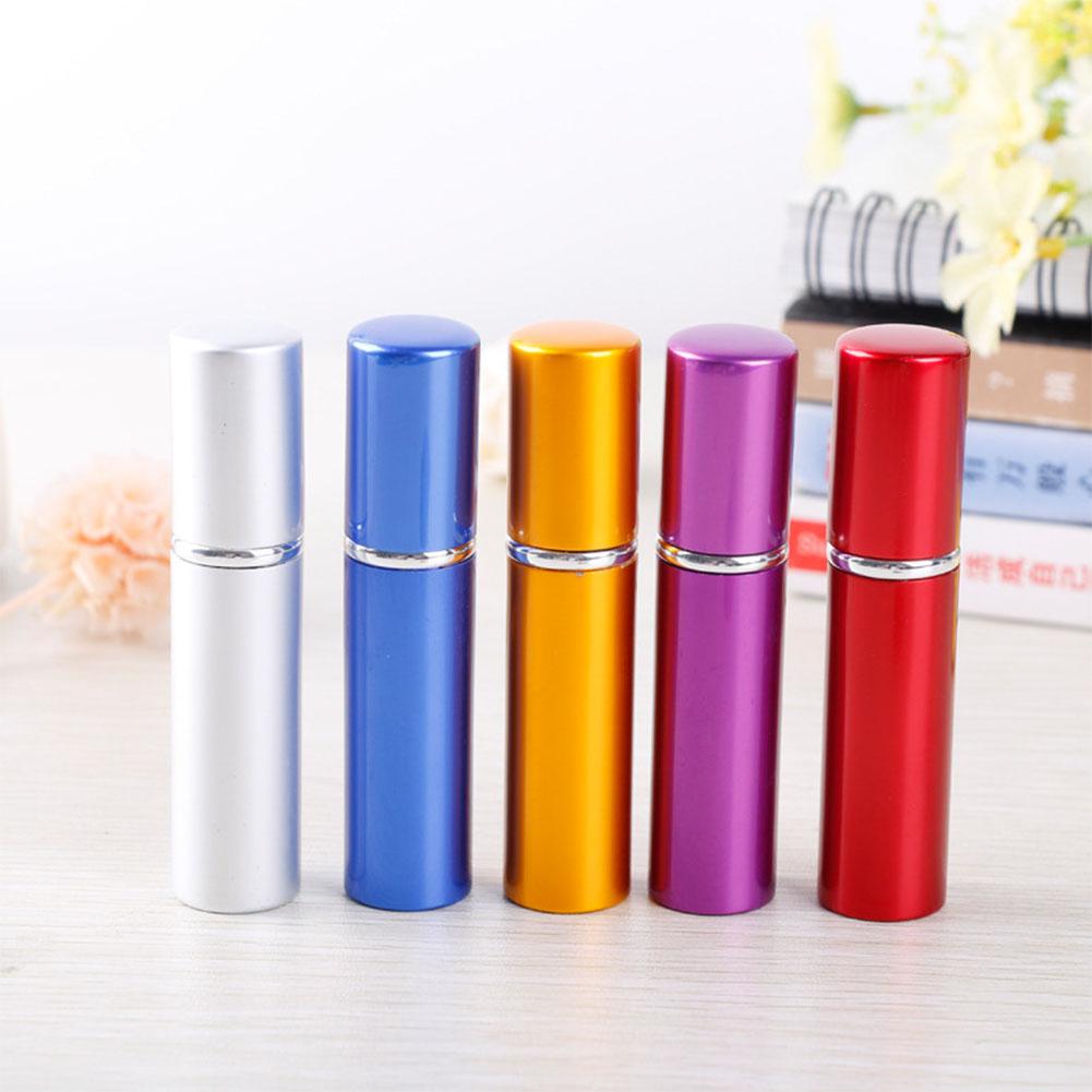 [Indonesia Direct] 5ml Portable Refillable Perfume Bottle Alloy Shining Color Pump Spray Atomizer Container Silver