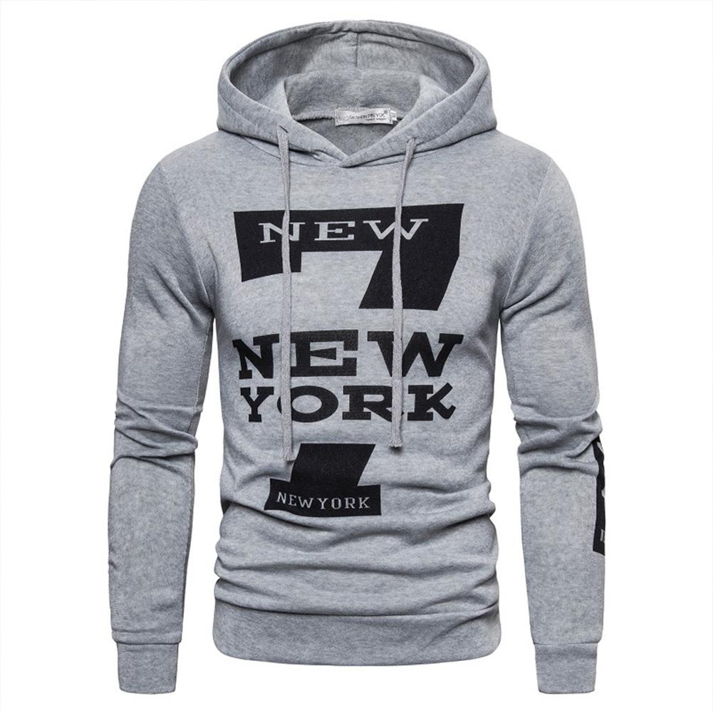 Men Hoodie Sweatshirt New York 7 Printing Drawstring Loose Male Casual Pullover Tops Gray_3XL